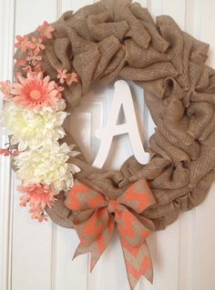 Burlap Everyday Door Wreath with Coral Chevron Bow by 30DegreesBleu on Etsy