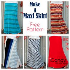 Free Maxi Skirt Pattern with Several Variations Sewing Patterns Free, Free Sewing, Clothing Patterns, Free Pattern, Sewing Hacks, Sewing Tutorials, Sewing Projects, Dress Tutorials, Sewing Ideas