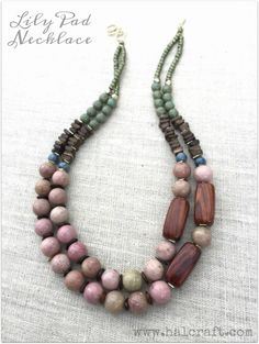 See what I made with wooden, shell, hematite, rhodonite, ceramic & glass beads for this Halcraft's special blog hop: Pretty Palettes!