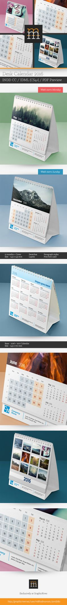 http://goo.gl/7NPoKjFeatures: Week starts Monday Week starts Sunday 12 pages + cover (size – 145×145 mm) Base – 2016 + 2017 Calendar (size – 145×170 mm) CMYK colors Print ready Fully editable Layers, swatches, paragraph stylesPreview images are…