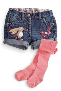 Buy Bunny Denim Shorts And Tights Set from the Next UK online shop Denim Fashion, Kids Fashion, Toddler Outfits, Girl Outfits, Toddler Clothing Stores, Baby Tights, Jeans, Denim Shorts, Girls Pants