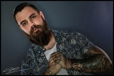 Calm and confident   Beards, tattoos, inked, inked guys, beard  anger, violence shirt, male model, fashion