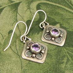 """GEM style Flower Petal Sterling Earrings - square with """"amethyst"""" colored CZ faceted stones - dainty, purple, diamond shaped - OOAK"""