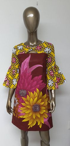 AYAWAX Collection. African Print Shift Dress. Keyhole neckline.  Bell Sleeves. Cheerful Yellow Burgundy Pink Print.  Handmade. Womens.