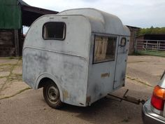 1950's vintage classic caravan.  How cool is this?!!  Love the front door.  Probably 10 feet