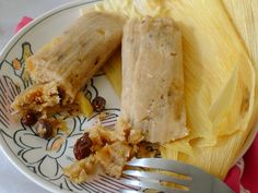 Sweet Raisin Tamales with Pineapple, Coconut & Pecans