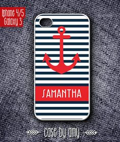 Stripe pattern Red anchor Personalized case for iPhone 4/4s, iPhone 5, Samsung Galaxy S3 - iphone case, galaxy 3 hard case - $16.80  at http://casebyamy.etsy.com