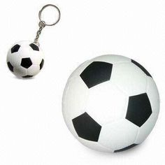 PU Squeeze Ball Toy/Plastic Stress Reliever Ball in Football/Soccer Ball Design, without Keychain