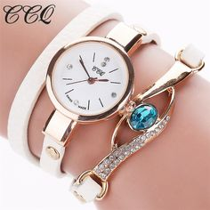 Cheap watch record, Buy Quality watch calculator directly from China watch logo Suppliers: CCQ Brand Watch Women Luxury Gold Eye Gemstone Dress Watches Women Gold Bracelet Watch Female Leather Quartz Wristwatchess Gold Watches Women, Luxury Watches For Men, Ladies Watches, Durable Watches, Gold Bracelet For Women, Gold Eyes, Gold Leather, Bracelet Watch, Manish