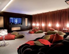 Very Nice Home Cinema Desig Ideas With Brown Bed And Comfort Pillow And Good Interior Lighting Some Theater Room Ideas that Should always be Consider Intensively Interior Design