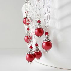 Apple Red Bridesmaid Necklace Pearl Pendant Red by FiveLittleGems, $14.00