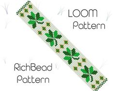 Clover seed bead bracelet pattern, Beading loom patterns, PDF seed bead bracelet, DIY making, Loom b Loom Bracelet Patterns, Bead Loom Patterns, Jewelry Patterns, Color Patterns, Art Patterns, Weaving Patterns, Mosaic Patterns, Painting Patterns, Bracelets Diy