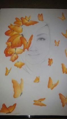 Self portrait with pastel butterflies Butterflies, Mixed Media, Pastel, Portrait, Drawings, Painting, Art, Sketches, Craft Art