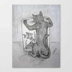 Curious Cat and the Goldfish Drawing Canvas Print