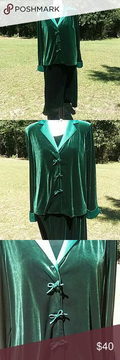 2 pcs dress and jacket Coldwater Creek Evening attire  Emerald velour Coldwater Creek Other
