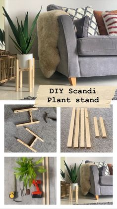 I've wanted to try this little DIY project for ages,a cute, simple and stylish plant stand for less than Diy Home Decor Projects, Diy Home Crafts, Furniture Projects, Diy Furniture, Decor Diy, Decor Ideas, Wooden Plant Stands, Diy Plant Stand, House Plants Decor