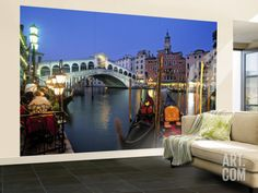 murals for walls, Venice | Rialto Bridge, Grand Canal, Venice, Italy Wall Mural – Large