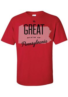 Pennsylvania Red The Great State Of Short Sleeve T Shirt - 8090270 Temporary Store, Red State, Pennsylvania, Pittsburgh, Sleeves, Mens Tops, T Shirt, Supreme T Shirt, Tee Shirt