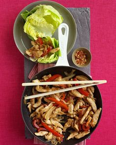 Yum! Healthy Time? Sub Tofu or Mushrooms for veggies or meatless monday? I think soooo! Chicken stir-fry wraps.