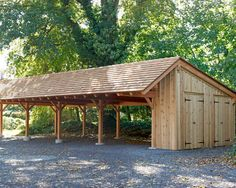 Much bigger than needed but shows shed style roof with storage and restroom on the end.