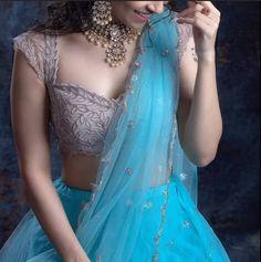 Stylish Saree Blouse Ideas - The handmade craft Half Saree Designs, Fancy Blouse Designs, Saree Blouse Designs, Lehenga Designs Latest, Lehenga Saree Design, Sari, Blouse For Lehenga, Lehanga Saree, Lahenga