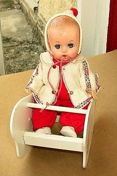 Vogue Ginnette Doll Drink Wet Squeaker w/ Rocker & Tagged Clothing