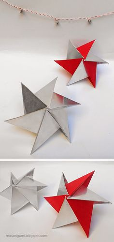 Több origami: csillagos Origami Architecture, Paper Crafts, Diy Crafts, Origami Stars, Xmas, Christmas Ornaments, Origami Paper, New Pins, Quilling