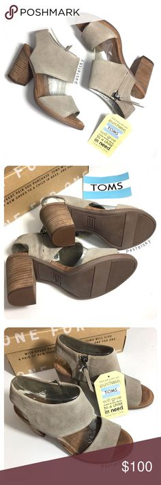 TOMS majorca suede cutout block heel sandals NEW in box,  perfect condition. the most comfortable block heels!   due to lighting- color of item may vary slightly from photos.  please don't hesitate to ask questions    price firm - item is excluded from bundle discount   i do not trade or take transactions off poshmark Toms Shoes Heels