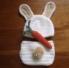 Figurinos Coelho Recém-Nascido Conjunto Branco e Bege Crochetar -  /   Newborn Bunny Costume Set White and Tan Crocheted -