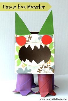 Tissue Box Germ Monster {Recycled Craft} - It Happens in a Blink