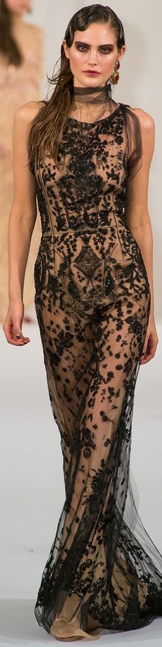 Oscar de la Renta ~ Black Embroidered Sheer Maxi Dress 2013