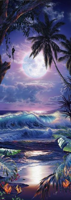Christian Reese Lassen is a featured artist at the Kona Oceanfront Gallery in Kailua Kona, Hawaii Beautiful Paintings, Beautiful Landscapes, Hawaiian Art, Tropical Art, Surf Art, Jolie Photo, Fantasy Landscape, Ocean Art, Beach Art
