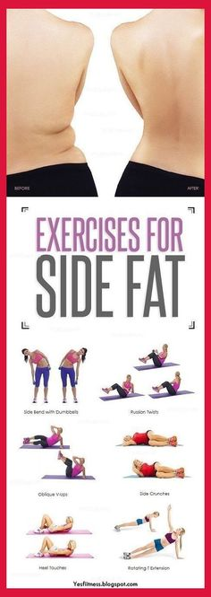 Workout Exercises: 8 Simple and Effective Exercises To Reduce Side Fa. Workout Exercises: 8 Simple and Effect. Reduce Belly Fat, Lose Belly Fat, Loose Weight, Reduce Weight, Side Fat Workout, Tummy Workout, Fitness Tips, Fitness Motivation, Health Fitness