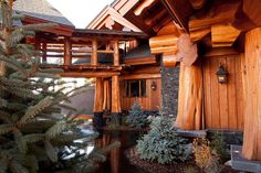 I want the outside of our chalet to look like this. I love tree trunk posts. Can we do it like this? - ER Yes, I like it a lot as well -KR