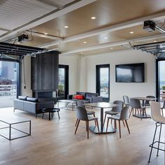 The ceiling in Ovative Group's top-floor common area is made of real wood acoustic panels by SoundPly. The space looks great and sounds even better thanks to SoundPly patented acoustic technology.