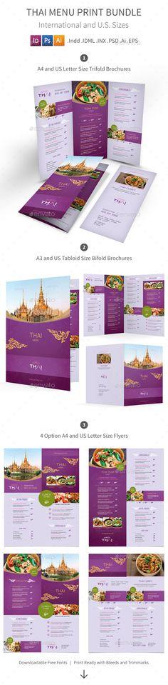 Thai Restaurant Menu Print Bundle Templates PSD, Vector EPS, InDesign INDD, AI Illustrator. Download here: http://graphicriver.net/item/thai-restaurant-menu-print-bundle-2/16460209?ref=ksioks