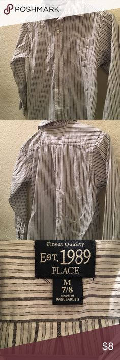 Boys striped button down shirt Boys. Dressy shirt. Striped. Size M. Children's place. Children's Place Shirts & Tops Button Down Shirts