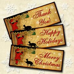 Christmas Note Cards 1x 2.5  Merry Christmas Happy by beeblecat, $3.50