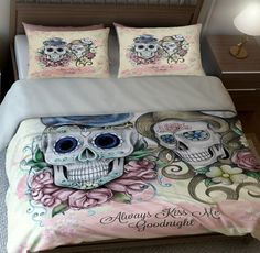 Skull Bedding Sugar Skulls Duvet Comforter Cover by FolkandFunky
