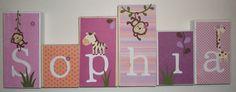 Personalized Wood Blocks - Baby Room Custom Names - M2M CoCaLo's Jacana Bedding Monkeys. $6.00, via Etsy.