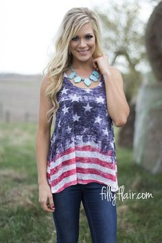 Celebrate the 4th of July with American tank for women!
