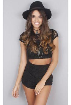 Conjunto Renda Top e Shorts - fashioncloset