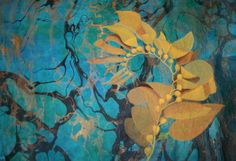 I love the sea and painted this kelp frond with acrylic on handmade paper.