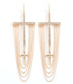 Diamond Cross Dangle Tassel Earrings ~ TotallySassy.com #StockingStuffers $22