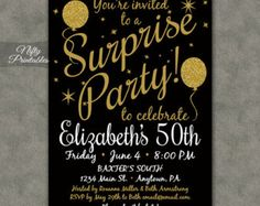 Party party invitation maker is to sum up your outstanding ideas of surprise birthday party invitation black by paperandinkdesignco solutioingenieria Images