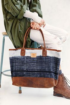 Will Leather Goods Indigo Batik Tote Bag
