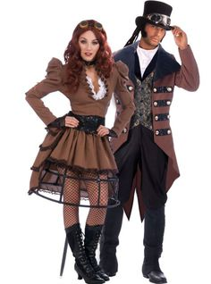 Adult Steampunk Vickey ($54.99) & Adult Steampunk Jack ($39.99) Couples Costumes - Party City ONLINE