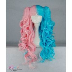 Items similar to 70cm-60cm-Long-Pink-and-Blue-Mixed-Beautiful-lolita-wig-Anime-Wig No.NLW109 on Etsy, a global handmade and vintage marketplace.