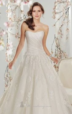 Strapless Tulle Lace Gown by Sophia Tolli Y11416