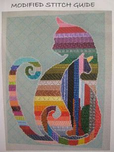 Could do this with other animals or shapes - neat idea for quilt of striped fabric. CAT'S QUILT PC Annie & Company Needlepoint & Knitting - Patt and Lee # Cats Silhouette Modified Stitch Guide
